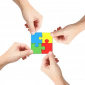 Solving a puzzle with teamwork