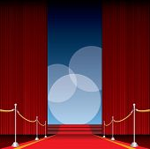 stock photo of curtains stage  - vector opened stage with red curtain and three spotlights - JPG