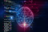 3D Rendering Of Human  Brain On Programming Language Background poster