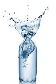 stock photo of bottle water  - plastic bottle with water splash isolated on white - JPG