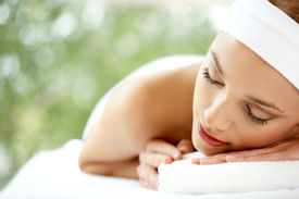 image of spa massage  - Young beautiful and relaxed lady taking spa treatment - JPG