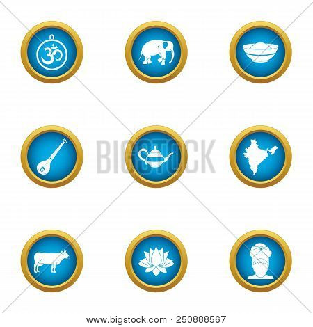 poster of Calm Icons Set. Flat Set Of 9 Calm Vector Icons For Web Isolated On White Background