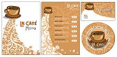 Template designs of menu and business card for cof poster
