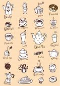 Set of coffee and tea design elements in sepia color style