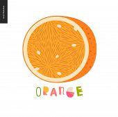 Food Patterns - Fruit, Vector Flat Illustration Of Orange -simple Half Of An Orange Fruit Full Of Ju poster