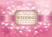 Vector Amazing Wedding invitation on pink glittering background in hearts