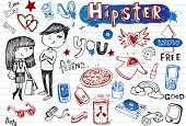 picture of emo-boy  - Hipsters doodle set - JPG