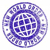 New World Order Stamp Watermark With Grunge Texture. Blue Vector Rubber Print Of New World Order Cap poster