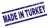 Made In Turkey Stamp Seal Watermark With Scratced Style. Blue Vector Rubber Print Of Made In Turkey  poster