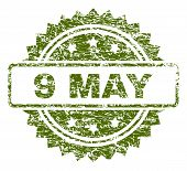 9 May Stamp Seal Watermark With Rubber Print Style. Green Vector Rubber Print Of 9 May Label With Du poster