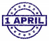 1 April Stamp Seal Watermark With Distress Texture. Designed With Rectangle, Circles And Stars. Blue poster