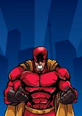 Illustration Of Raging Superhero On City Background With Copy Space For Your Text. poster
