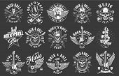 Rock And Roll Emblems On Black Background. Vector Illustration poster