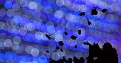Silhouette Of Graduate Students Throw Mortarboards In University Graduation Success Ceremony. Congra poster