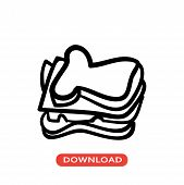 Thick Sandwich Vector Icon Flat Style Illustration For Web, Mobile, Logo, Application And Graphic De poster