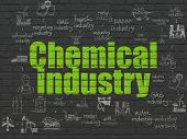 Industry Concept: Painted Green Text Chemical Industry On Black Brick Wall Background With Scheme Of poster