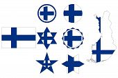 Flag Of Finland, Geometric Figures From The Colors Of The Flag Of Finland poster