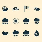 Climate Icons Set With Drizzle, Sunny, Humidity And Other Hail Elements. Isolated  Illustration Clim poster