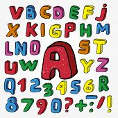 stock photo of slash  - Hand Drawn Childish Alphabet - JPG