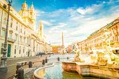 Panoramic View Of Piazza Navona In Rome With Ancient Fountain, Italy, Toned poster
