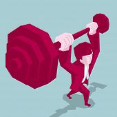Business Power Strength Concept Design.businessman Weightlifting.the Background Is Blue. poster