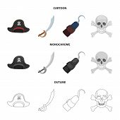 Pirate, Bandit, Cap, Hook .pirates Set Collection Icons In Cartoon, Outline, Monochrome Style Vector poster