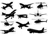 stock photo of fighter plane  - Airplanes sand helicopters - JPG