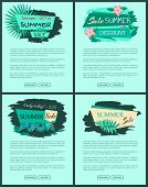 Summer Sale Advert Posters Set Of Promotional Emblems. Summertime Discount Logo With Tropical Plants poster