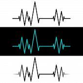 Medical Heartbeat Pulse, Cardiogram Label. Vector Illustration poster