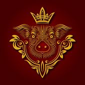 Yellow Pig Is Chinese Symbol Of New Year 2019. Patterned Pig Muzzle With Decoration And Crown. poster