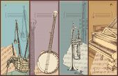 music theme banners - instruments drawing -bagpipe, banjo, trumpet, piano