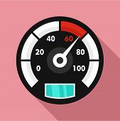 Motor Bike Speedometer Icon. Flat Illustration Of Motor Bike Speedometer Vector Icon For Web Design poster