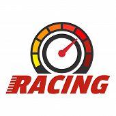 Racing Dashboard Logo. Flat Illustration Of Racing Dashboard Vector Logo For Web Design poster