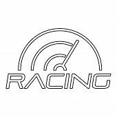 Racing Line Speedometer Logo. Outline Racing Line Speedometer Vector Logo For Web Design Isolated On poster