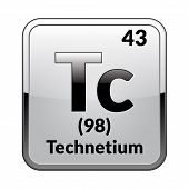 Technetium Symbol.chemical Element Of The Periodic Table On A Glossy White Background In A Silver Fr poster
