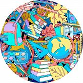 Back to school round multicoloured background with school supplies