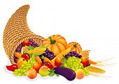 stock photo of horn plenty  - Horn of Plenty with  vegetables and fruits - JPG