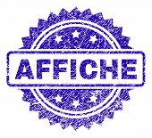 Affiche Stamp Imprint With Scratched Style. Blue Vector Rubber Seal Print Of Affiche Tag With Scratc poster