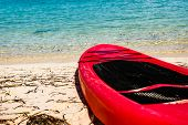 Red Kayak On The Shores Of Coco Cay Island In The Bahamas. Luxury Beach Oasis In Coco Cay. poster