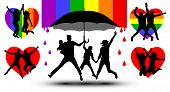 Family Is Protected By An Umbrella, Silhouette. Gender Couple. Propaganda, Lgbt Flag poster
