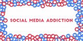 May 01, 2018: Social Media Addiction. Social Media Icons In Abstract Shape Background With Scattered poster