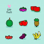 Fruits Collection - Cute Colorful Vector Illustration Template With Different Types Of Fruits. Set O poster