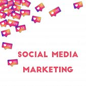 Social Media Marketing. Social Media Icons In Abstract Shape Background With Gradient Counter. Socia poster