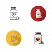 Pills Bottle With Heart Icon. Cardio Supplement. Medications. Flat Design, Linear And Color Styles.  poster