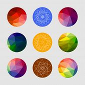 Set Of Geometric Shapes. Geometric Background. Set Of Colored Geometric Crystal Circles In Polygon S poster