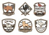 Hunter Club Or Hunting Open Season Badge Icons. Vector Set Of Shields With Buffalo, Wild Wolf Or Fox poster