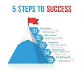 5 Steps To Success Infographics, Leadership Or Motivation Concept, Vector Eps10 Illustration poster