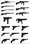 stock photo of uzi  - vector collection of weapon silhouettes - JPG
