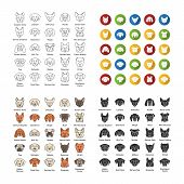Dogs Breeds Icons Set. Canine. Guide, Guardian, Hunting, Herding Dogs. Linear, Flat Design, Color An poster