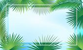 Tropical Palm Tree Leaves Frame For Jewish Holiday Sulkkot And Rosh Hashanah, Sukkah Decoration, Vec poster